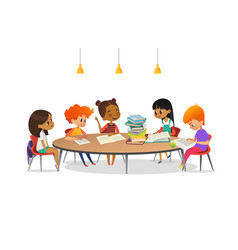 multiracial children sitting around round table vector image vector image