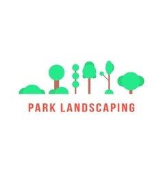 park landscaping with trees and bushes vector image