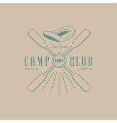 Rafting camp club emblem design vector