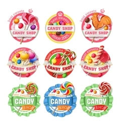 set of lollipop logos stickers vector image