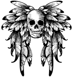 wings with skull vector image vector image