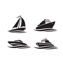 black ships icons vector image vector image