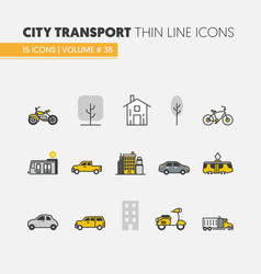 city transportation linear thin icons vector image