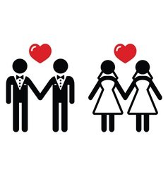 Gay marriage icons set vector image