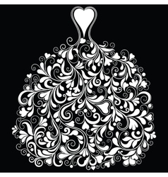 Vintage silhouette of perfect wedding dress vector image vector image