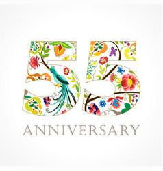 55 anniversary folk logo vector