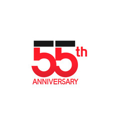 55 years anniversary logotype with black and red vector