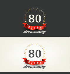 80 years happy anniversary banners vector