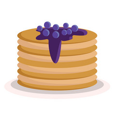 a stack fluffy pancakes with blueberry sauce vector image