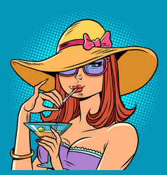 a woman drinks cocktail on beach summer vector image