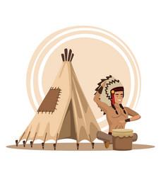 american indians cartoon vector image
