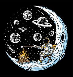 Astronauts burn marshmallows hand drawn vector