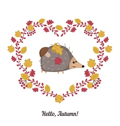 Autumn background with cute hedgehog vector