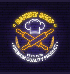 bakery shop neon bright signboard light banner vector image