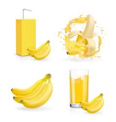 banana juice collection banana drink package vector image