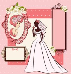 beautiful bride in dress vector image