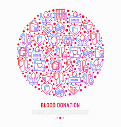 blood donation mutual aid concept in circle vector image