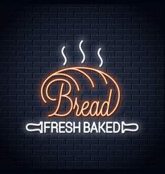 bread neon banner bakery neon sign on wall vector image