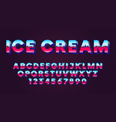 bright retro font with blue and pink gradient in vector image