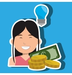 business person with dollars isolated icon vector image