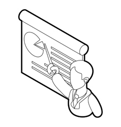 Businessman giving presentation with a board icon vector