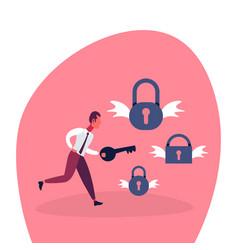 businessman holding key unlock padlock wings vector image