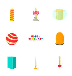 candle for the holiday icons set cartoon style vector image