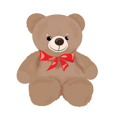 cartoon teddy bear with a red bow plush toy bear vector image