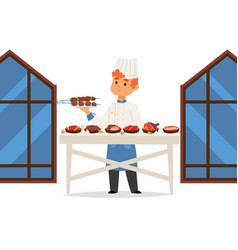 chef in meat restaurant presents different dishes vector image
