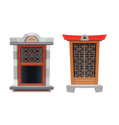 chinese window temple or fortress architecture vector image