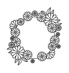 circular frame with flowers and leafs vector image