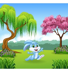 Cute bunny running in the jungle vector image