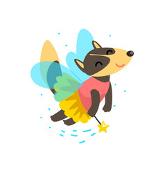 Cute winged wolf flying with a magic wand fantasy vector