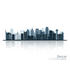 Dallas blue skyline silhouette with reflection vector