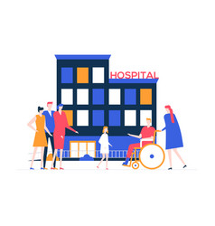 Discharge from the hospital - colorful flat design vector