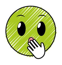 Doodle amazed face gesture emoji expression vector