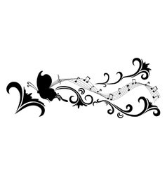 Doodle black abstract flowers and butterfly vector image