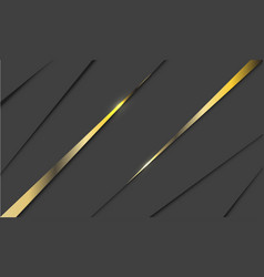 double gold line glossy triangle on grey vector image