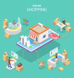 Flat isometric concept easy shopping e vector
