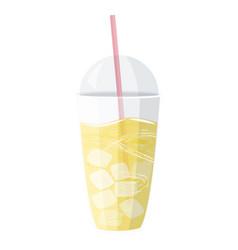 Glass juice with lemon cocktail lemonade vector