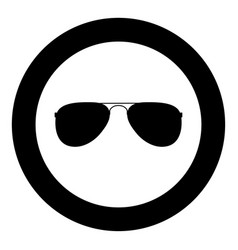 glasses icon black color in circle vector image
