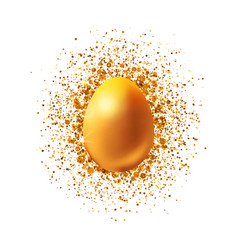golden easter egg with glitter vector image vector image