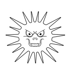 Gray virus icon in outline style isolated on white vector