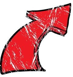 grunge drawing cartoon pointing arrow vector image