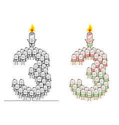 Hand drawn cartoon characters - birthday candle 3 vector