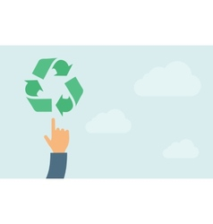 Hand pointing to recycling icon vector image