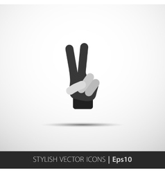 Hand showing number two Flat icon vector