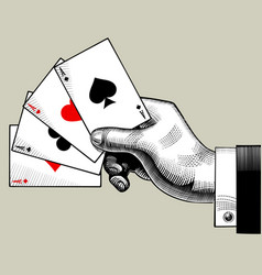 hand with ace playing cards fan vintage engraving vector image