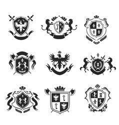 heraldic coat arms decorative emblems black set vector image