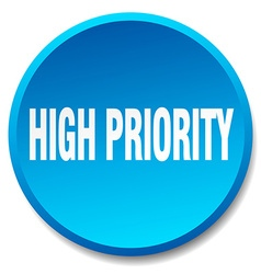 High priority blue round flat isolated push button vector